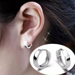 NEW 925 STERLING SILVER PLATED PLAIN HUGGIE HOOPS